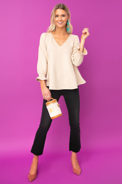 bone suede easton blouse