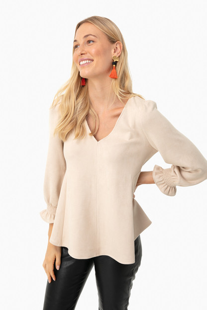 suede bone easton blouse