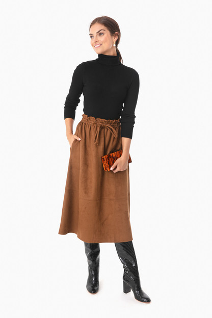 brown cece suede skirt