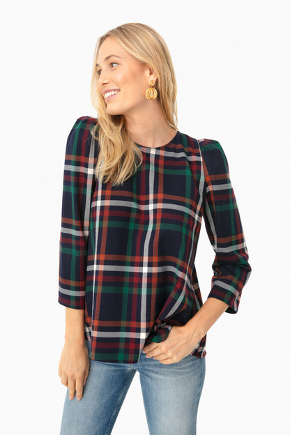 new england plaid bedford blouse