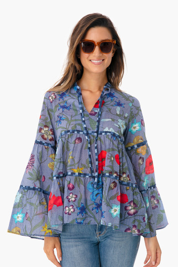 blue floral layer blouse