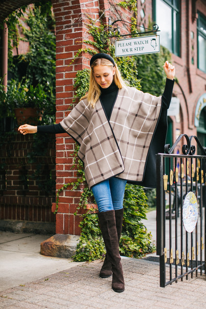 Reversible Latte Plaid Surrey Poncho