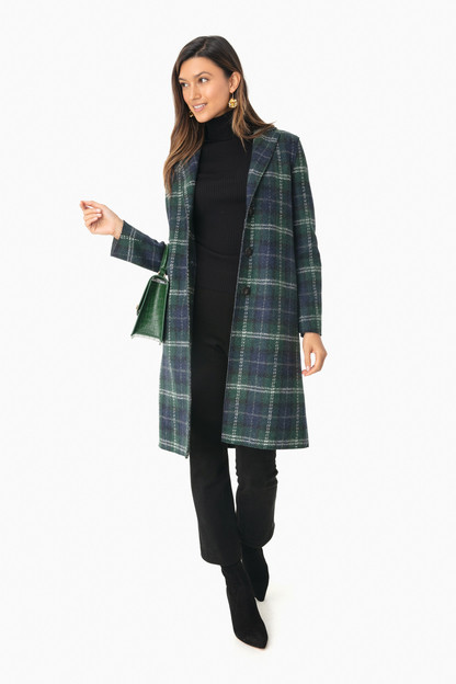 tartan pressed wool overcoat