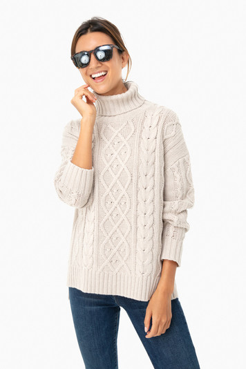 oatmeal fitzgerald cableknit sweater