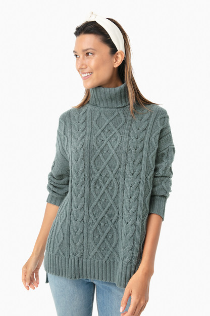 sage fitzgerald cableknit sweater