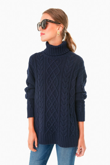 navy fitzgerald cableknit sweater