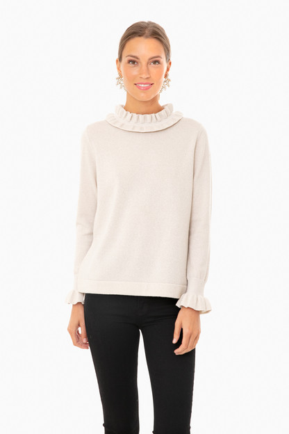 ivory shimmer edie ruffle sweater