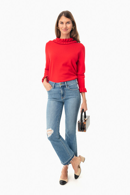 fire engine sylvie ruffle sweater