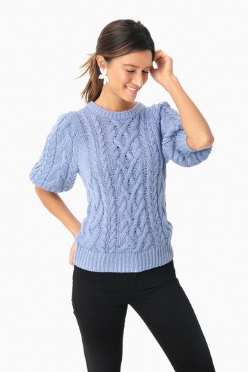 delft blue puff sleeve sweater