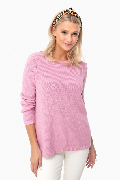 dusty lilac emma crewneck shaker sweater
