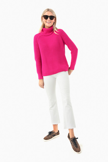 magenta shaker turtleneck sweater