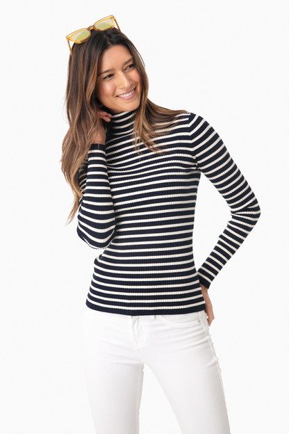 navy striped sonia ribbed turtleneck