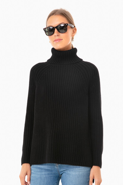 black shaker turtleneck sweater