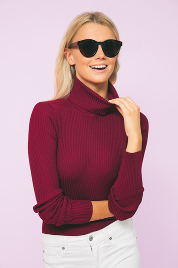 deep plum sonia ribbed turtleneck