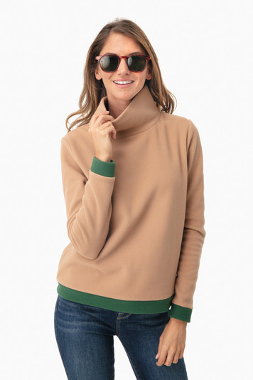 camel colorblock park slope turtleneck