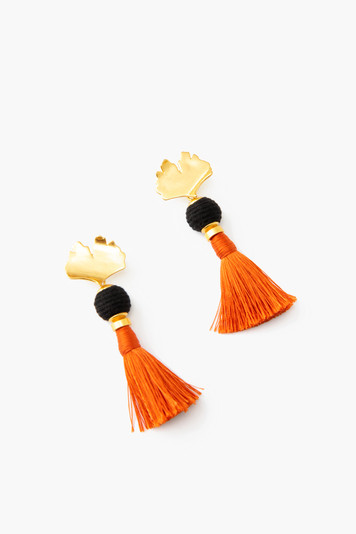 ginkgo tassel earrings