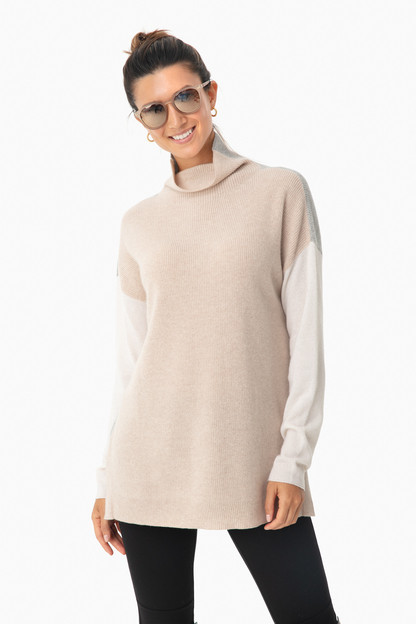 oatmeal heather cashmere colorblock turtleneck sweater