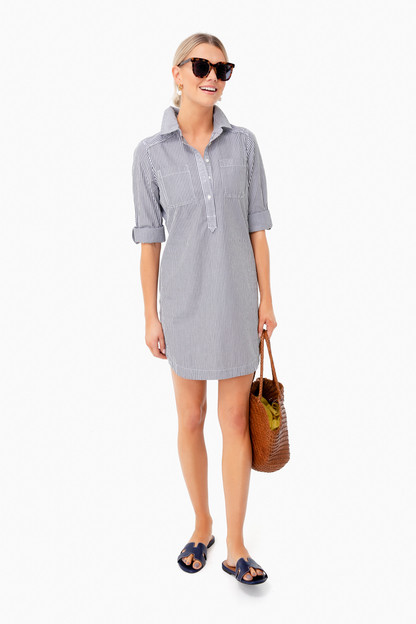 jet black mixed stripe margo shirt dress