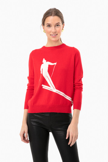 red skier crew neck sweater