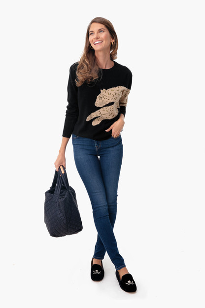 black felix leopard sweater