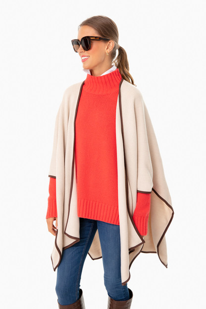 light beige herringbone jasper poncho