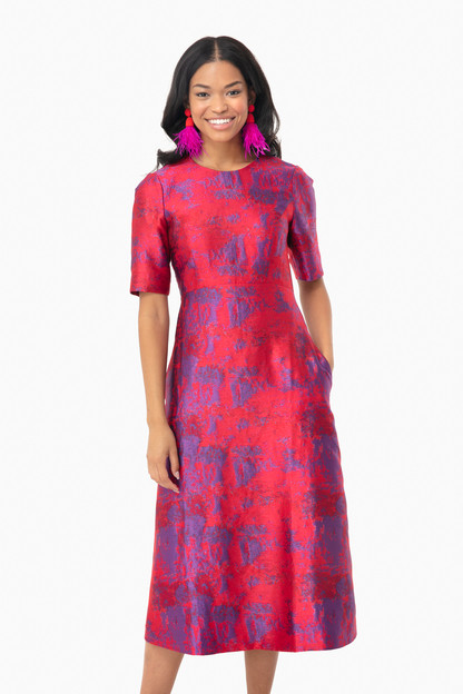 Raspberry Jacquard Baldwin Dress