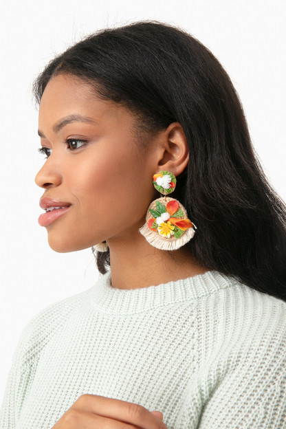 flower fringe earrings