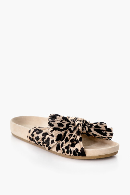 leopard caro pleated knot sandals