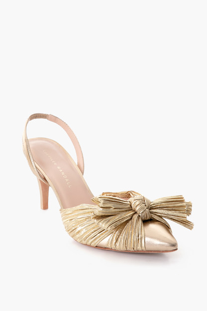 gold sylvana pleated knot slingback pump