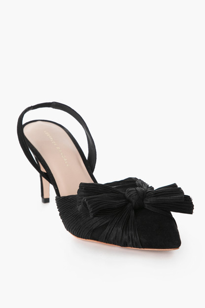 black sylvana pleated knot slingback pump