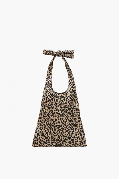 Leopard Bex Pleated Knot Shoulder Bag