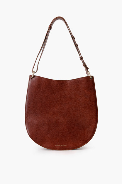 cognac caroline twisted ring leather hobo