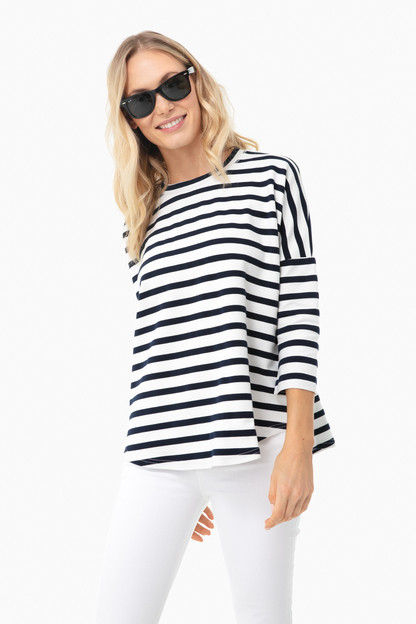 navy and white swing sweatshirt