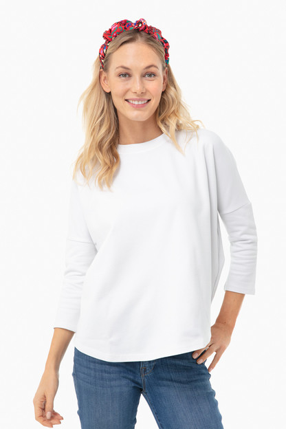 White Solid Swing Sweatshirt