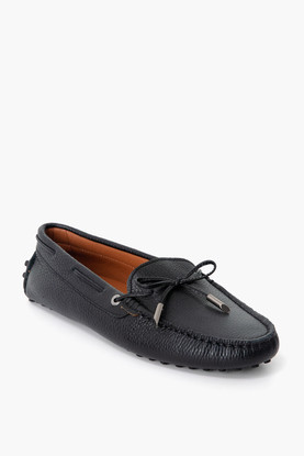 black leather driving moccasin