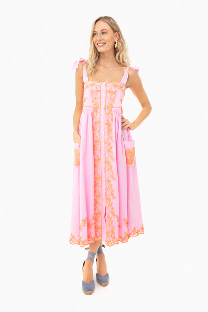 sugar pink cotton tie shoulder dress with lotus embroidery