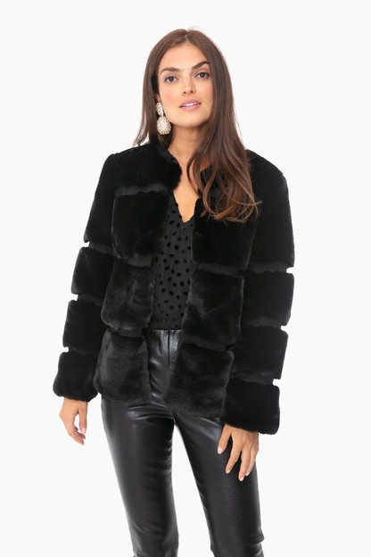 black ariel fur coat