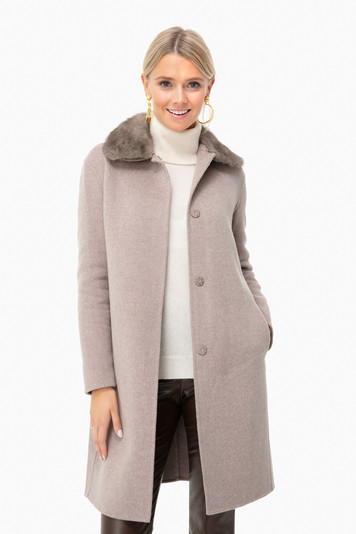 mocca double face wool and cashmere coat