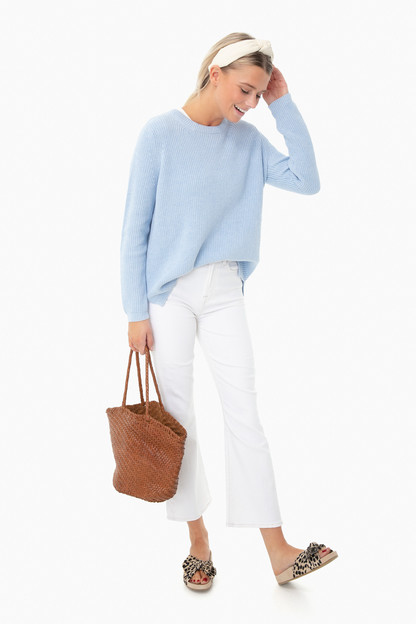 water blue melange emma crewneck shaker sweater
