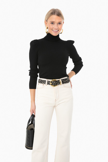 Black Puff Sleeve Sonia Ribbed Turtleneck