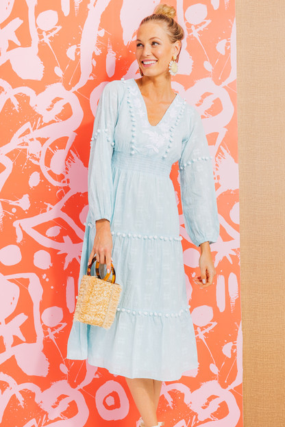 Sky Embroidered Pom Pom Midi Dress