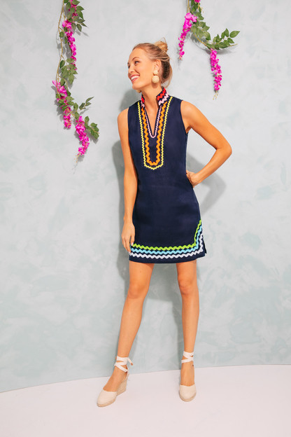 navy rainbow exclusive sleeveless classic tunic