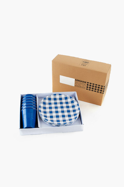 Blue Gingham Melamine Picnic Set