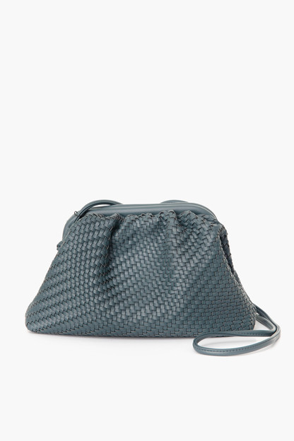slate woven frame bag with long handle