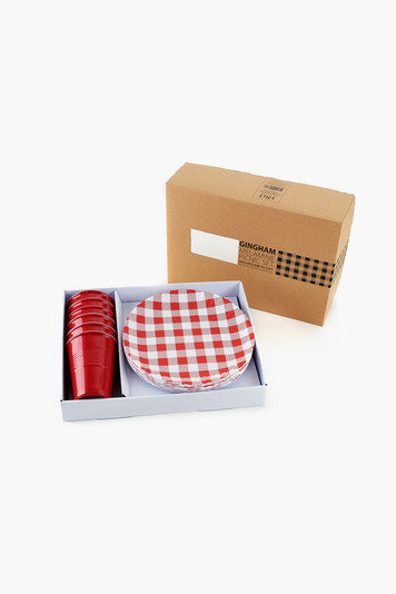 red gingham melamine picnic set
