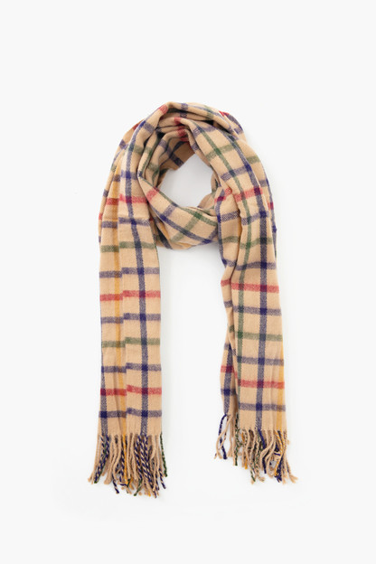 brown cashmere blend check scarf