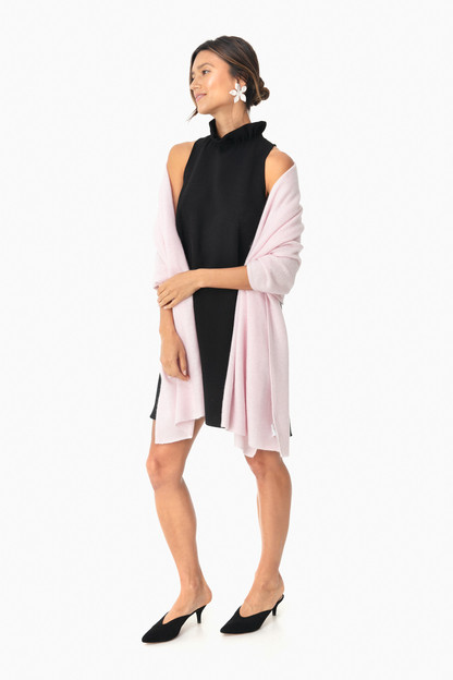 bloom pink cashmere travel wrap