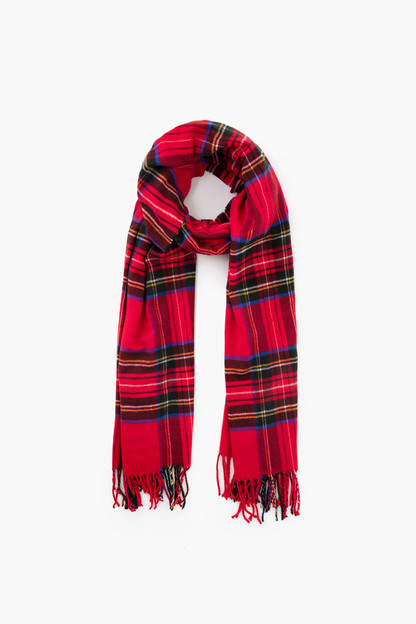 Red Cashmere Blended Plaid Scarf