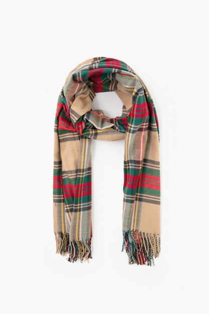 tan cashmere blended plaid scarf