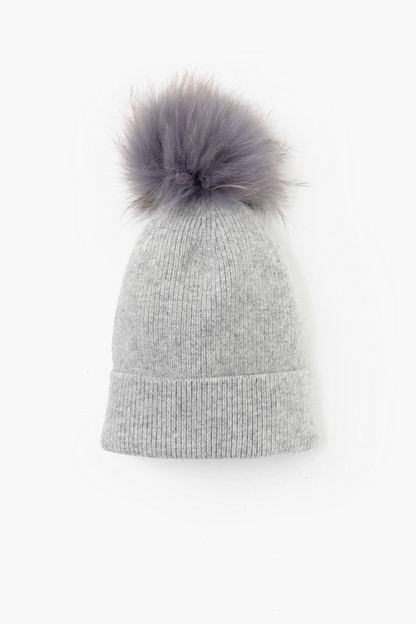 light grey cashmere blended ribbed knit beanie